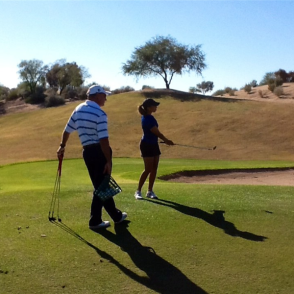 Mike LaBauve working with Cheyenne Woods at the Westin Kierland in Scottsdale, AZ.